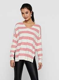 Only bielo-ružový pruhovaný sveter s rozparkami Amalia