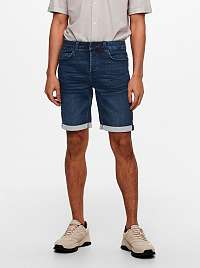 ONLY & SONS modré pánske džínsové kraťasy Spy