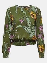 Only zelené dámske blúzka Palm s kvetinovým motívom