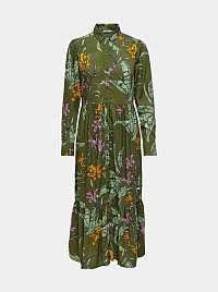 Only zelené maxi kvetované košeľové šaty Palm