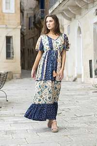 Orientique farebné maxi kvetované šaty Toledo