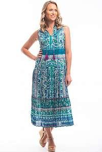 Orientique maxi šaty Ibiza Green s farebnými motívmi