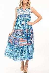 Orientique modré dlhé šaty Navajio
