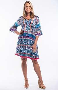 Orientique modré letné šaty Ibiza Blue so vzormi