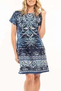 Orientique modré obojstranné šaty Andros s vreckami