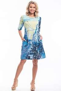 Orientique modré šaty Street Blue so vzormi