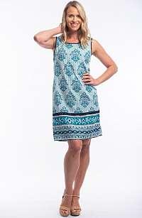 Orientique petrolejové letné šaty so vzormi