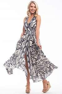 Orientique voľné maxi letné šaty Valencia so vzormi