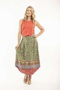 Orientique zelená dlhá sukňa Kea