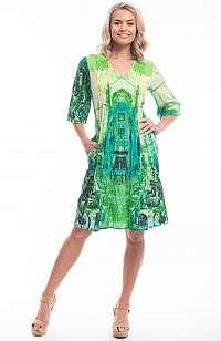 Orientique zelené letné šaty Street Green s farebnými motívmi