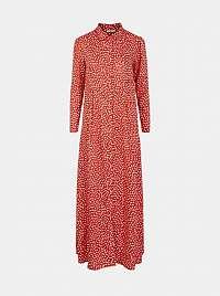 Pieces červené košeľové maxi šaty Royals so vzormi