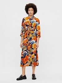 Pieces oranžové kvetované košeľové midi šaty Rosia
