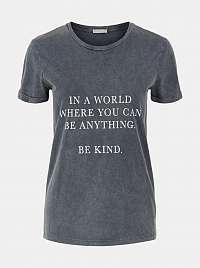 Pieces sivé dámske tričko Anything s potlačou