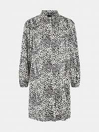 Pieces smotanové/krémové košeľové šaty so vzormi