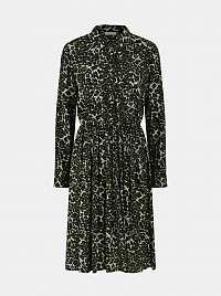 Pieces zelené košeľové šaty Faxa so vzormi