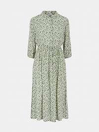 Pieces zelené maxi kvetované košeľové šaty