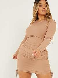 Quiz béžové puzdrové šaty