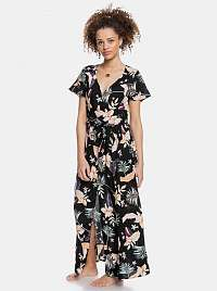 Roxy čierne maxi šaty s tropickými motívmi