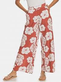 Roxy oranžové široké nohavice s tropickými motívmi