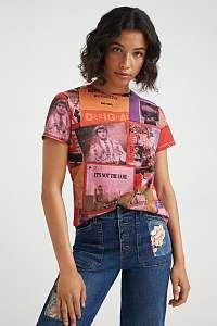 Ružové dámske vzorované tričko Desigual Proclaim