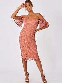 Ružové krajkové puzdrové šaty Little Mistress