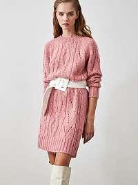 Ružové svetrové šaty Trendyol
