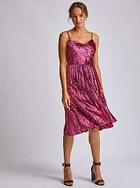 Rúžové zamatové šaty s plisovanou sukňou Dorothy Perkins