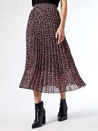 Ružovo-čierna kvetovaná plisovaná midisukňa Dorothy Perkins