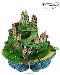 Santoro papierová 3D dekorácia Hill Town