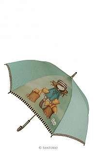 Santoro zelenkavý palicový dáždnik Gorjuss The Foxes