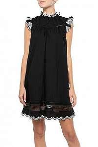 Scotch & Soda čierne letné šaty s čipkou - XL