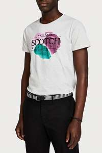 Scotch & Soda svetlo sivé pánske tričko Painted Artwork - XXL