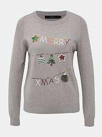 Šedý sveter s vianočným motívom VERO MODA Merry