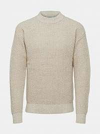 Selected Homme smotanové/krémové pánsky sveter