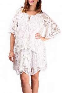 Simpo čipkované biele dámske šaty Lace Up - M/L