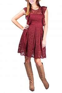 Simpo bordové čipkované šaty Boho Fall - L