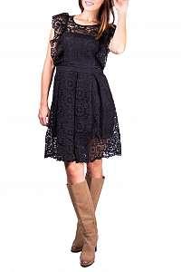 Simpo čierne čipkované šaty Boho Fall - L
