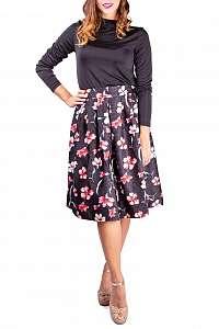 Simpo dámska sukňa Black Flowers - M/L