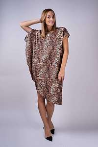 Simpo leopardie asymetrické šaty Storm bez opasku
