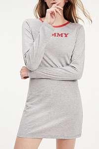 Tommy Hilfiger sivé domáce šaty Nightdress LS s dlhým rukávom - L