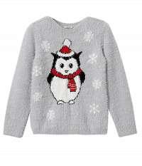 Svetlo šedý dievčenskú sveter s motívom Camaieu