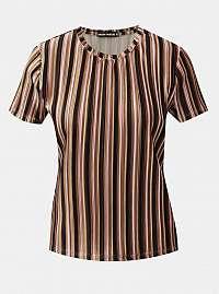 Tally Weijl čierno-hnedé zamatové pruhované rebrované tričko