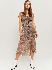 Tally Weijl fialové midi kvetované šaty