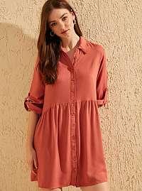 Tehlové košeľové šaty Trendyol