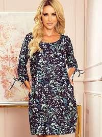 Tmavo modré kvetované šaty numoco