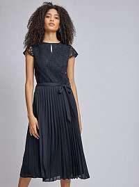 Tmavo modré plisované šaty s čipkovaným topom Dorothy Perkins