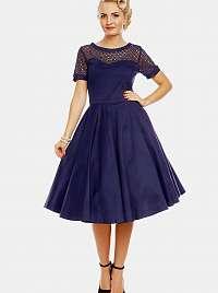 Tmavo modré šaty s ozdobným sedlom Dolly & Dotty