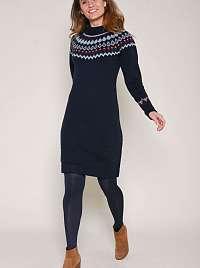 Tmavo modré vzorované svetrové šaty s prímesou vlny z alpaky Brakeburn