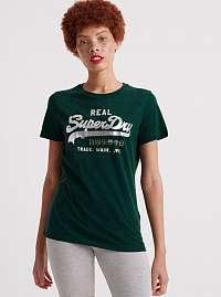 Tmavozelené dámske tričko s potlačou Superdry