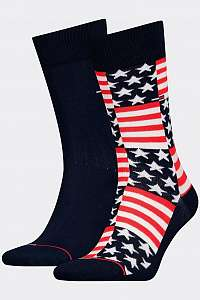 Tommy Hilfiger 2 pack ponožky TH Jeans Sock 2P American Flag --42